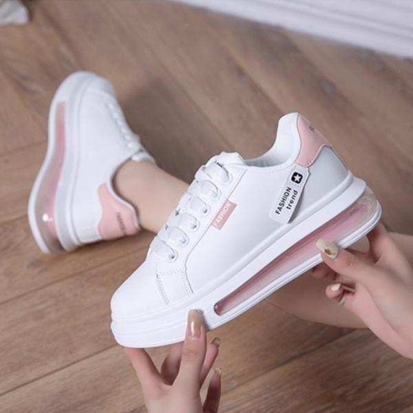 氣墊鞋 小白鞋女ins潮2021新款厚底百搭內增高女鞋顯瘦氣墊鞋休閑鞋女 霓裳細軟