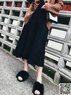 2018秋冬季新款中長款bf黑色ins超火的a字毛線針織百褶半身裙子女 生活主義