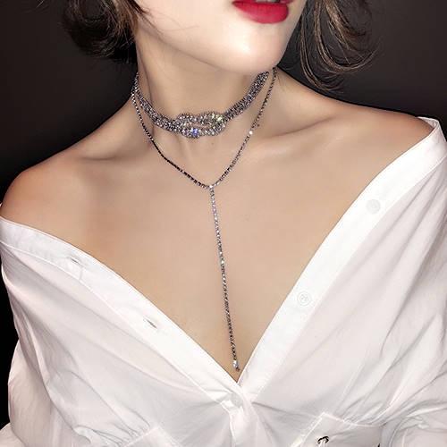 克妹Ke-Mei【AT49950】超時髦重推!Bling奢華水鑽扭結雙層T字長頸鍊