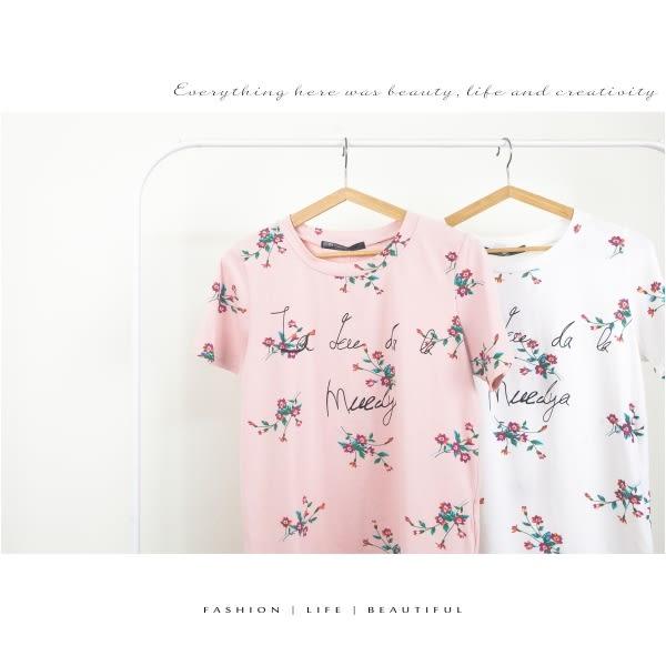 【INI】花漾活力、文青花漾字母圓領上衣.白色