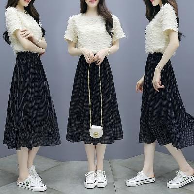 網紅小香風套裝名媛小香風套裝女洋氣小個子夏裝顯高夏季很仙的百褶裙兩件套T303-B.1號公館