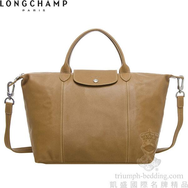 凱盛國際名牌精品 LONGCHAMP Le Pliage Cuir頂級小羊-自然淺褐色-中款-短手把折疊‧手提斜側肩背水餃包