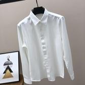 秋季長袖白襯衫男士工正裝商務休閒黑韓版潮流職業純白色修身寸衣-ifashion
