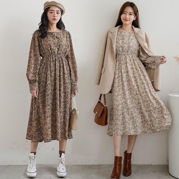 MIUSTAR 質感包邊設計內裡磨毛印花厚雪紡洋裝(共2色)【NH2989】預購