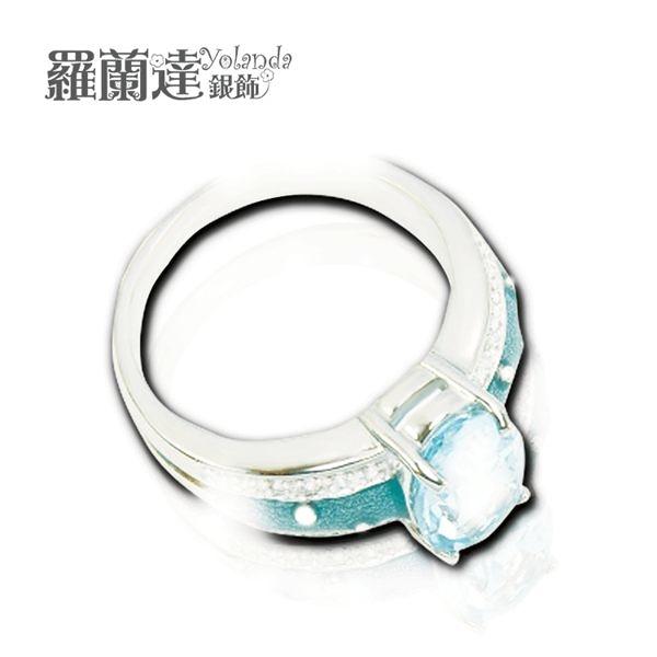戒指925純銀。天然拓帕石。白鋯石與藍琺瑯。【羅蘭達銀飾】