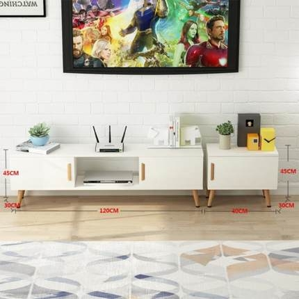 北歐電視櫃茶幾組合實木腿小戶型日式家具簡約現代客廳電視機櫃