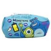 〔小禮堂〕迪士尼怪獸大學厚帆布拉鍊化妝包《藍綠搭肩》萬用包收納包筆袋8039320 40216