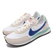 Nike 休閒鞋 Waffle Trainer 2 BG 白 灰 藍 麂皮 女鞋 大童 拚接 格紋 【ACS】 DM7213-141