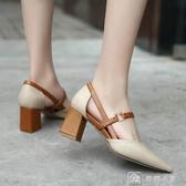高跟鞋 高跟鞋子女春季新款正韓百搭中跟粗跟單鞋尖頭英倫奶奶鞋 新年禮物