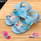 女童 冰雪奇緣 FROZEN 艾沙 安娜 透明露趾魔鬼氈 高跟涼鞋 MIT製造 正版授權 59鞋廊