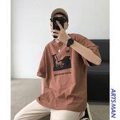 現貨 嘻哈潮流潮牌印花圓領短袖T恤韓版寬鬆百搭五分袖夏 短袖T恤 T恤 潮流男裝
