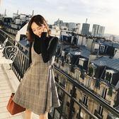 小香風吊帶打底裙針織兩件套秋冬季修身顯瘦毛呢格子背帶連衣裙女-可卡衣櫃