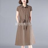 減齡寬鬆休閒系帶亞麻棉麻女短袖中長款新款夏裝洋裝 快速出貨