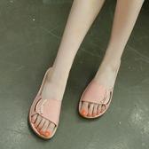 一字拖鞋 女涼拖鞋 新款夏季休閒舒適金屬扣式大碼沙灘鞋韓版女鞋子【多多鞋包店】ds3892