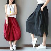 棉麻 民俗風下襬綁帶寬褲 獨具衣格