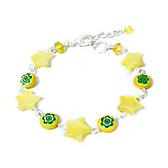 鵝黃色貓眼星星與黃綠琉璃花手鍊