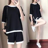 休閒套裝 新款短袖冰絲針織休閒運動服套裝女LJ9702『miss洛羽』