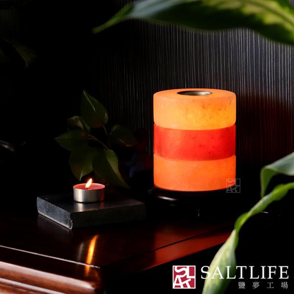 【鹽夢工場】創意造型系列-岩鹽圈精油燈 (玫瑰混色)