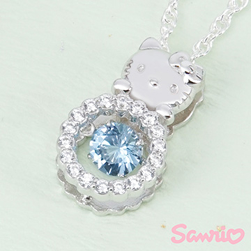 Hello Kitty凱蒂貓-時尚甜心(藍)-純銀項鍊