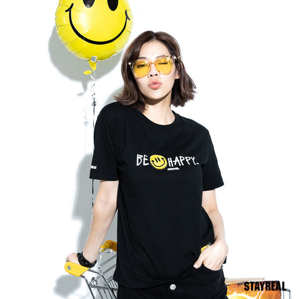 STAYREAL BE HAPPY Logo T
