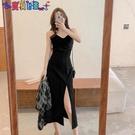 短袖洋裝 長裙2021年新款小黑裙小眾氣質法式小眾黑色吊帶裙連身裙子女夏季 新品新品