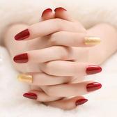 酒紅與金粉光療假指甲指甲成品可拆卸可穿戴假指甲成品【全館免運八折搶購】