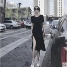 短袖洋裝 2020夏季新款洋裝短袖黑色開叉長裙顯瘦小心機洋裝女長裙 果果生活館