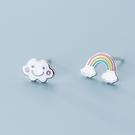 925純銀 不對稱彩虹雲朵 耳環耳針釘-銀 防抗過敏