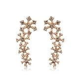 耳環 玫瑰金 925純銀鑲鑽-時尚雪花生日情人節禮物女飾品2色73gs248【時尚巴黎】