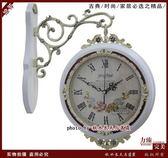 歐式實木雙面掛鐘 田園創意兩面鐘錶 簡約靜音客廳麗聲機芯掛錶【290中號白色】