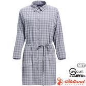 Wildland 荒野 0A71205-90灰色 女抗UV時尚格紋長袖襯衫 彈性纖維/休閒旅遊/防曬小罩衫/顯瘦修身*