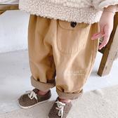 寬鬆大口袋內刷毛哈倫褲 褲子 童裝 長褲