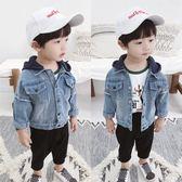 秋季外套-男童牛仔外套秋季新款韓版兒童長袖牛仔衣1-3歲寶寶連帽外套 依夏嚴選