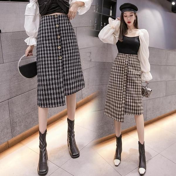 降價兩天 半身裙女秋冬季 中長款顯瘦A字毛呢格子包臀一步裙子
