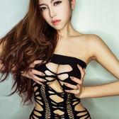 性感抹胸露乳露背包臀睡裙破洞鏤空透視成人情趣內衣女連體衣