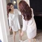 襯衫睡衣女 天短袖純棉寬鬆性感白色大碼情趣睡裙開衫襯衣可外穿 完美情人