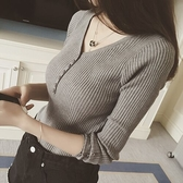 秋冬v領套頭毛衣女長袖修身短款針織衫紐扣新款內搭打底衫上衣春 嬌糖小屋