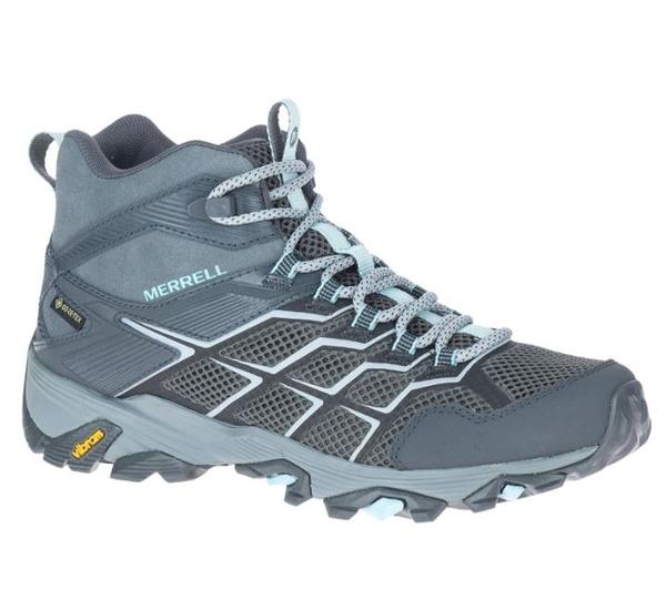 [好也戶外] Merrell MOAB FST 2 MID GTX 女登山中筒鞋 鐵灰/青綠 NO.500094