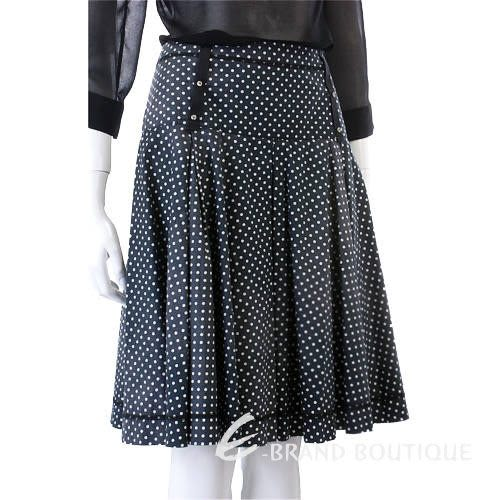 ROBERTA SCARPA 點點百摺及膝裙(黑色) 0620825-01