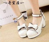 日本原單日系森女lolita洛麗塔學生高跟鞋圓頭粗跟蝴蝶結女鞋單鞋