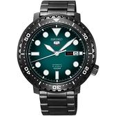 SEIKO 精工5號系列 復刻運動機械錶-綠x鍍黑x/44mm 4R36-06N0SD(SRPC65J1)