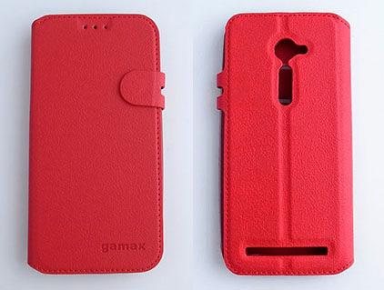 gamax ASUS ZenFone 2(ZE500CL) 5吋 磁扣荔枝紋側翻手機保護皮套 側立 商務二代