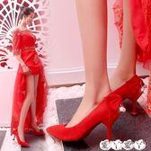 婚鞋 結婚鞋子女單鞋韓版敬酒尖頭婚紗高跟鞋新娘婚鞋婚禮紅鞋愛丫愛丫