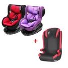 【奇買親子購物網】湯尼熊TonyBear0-4歲ISOFIX汽車座椅(黑紅/紫色)+兒童賽車型汽座3-12歲(不含遮陽棚)