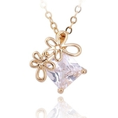 項鍊 純銀鍍18K金水晶吊墜-華麗花朵生日情人節禮物女飾品73cu229【時尚巴黎】