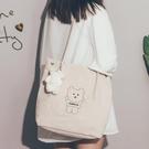 可愛帆布包女側背包包2021新款潮韓版百搭學生燈芯絨大容量托特包