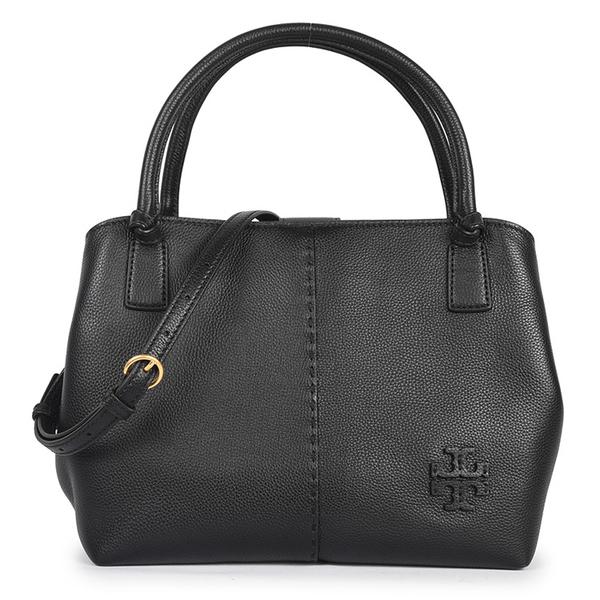 TORY BURCH McGRAW縫線飾邊軟牛皮手提斜背兩用包(黑色)150065