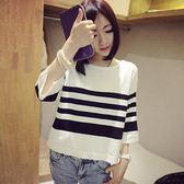 春秋新款中袖T恤韓版女裝五分袖針織衫打底寬鬆短袖條紋上衣  凱斯盾數位3C