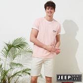 【JEEP】簡約美國風素面短袖TEE-男女適穿-粉
