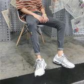 潮流男士牛仔褲新款港風鉛筆褲修身小腳九分褲子男灰色學生夏季薄-Ifashion